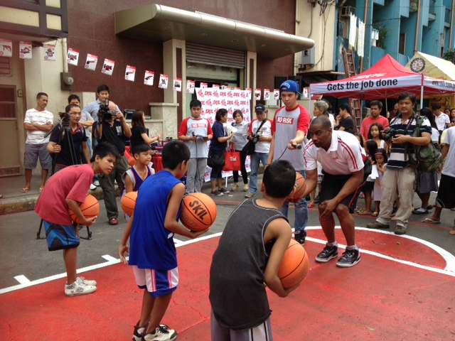 Champion coach and Skil endorser Norman Black at the recent Skil Paint the Town Red basketball court turn-over in Binondo