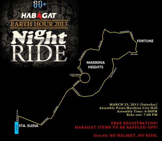 Habagat Earth Hour Ride 2013 Route Map