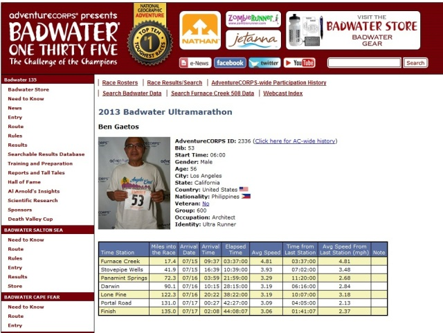 First Filipino to finish Badwater Marathon