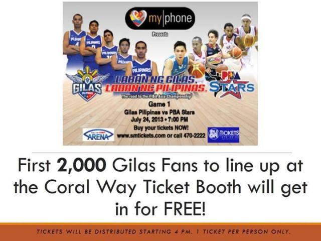 Gilas Pilipinas vs PBA Stars Free Ticket
