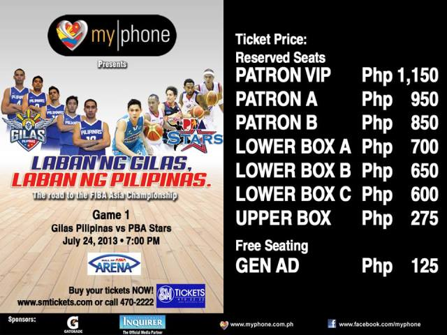 Laban ng Gilas - Laban ng Pilipinas Ticket Prices