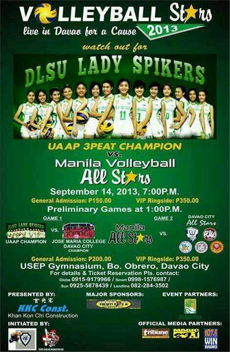 DLSU Lady Spikers as they go up against Manila All Stars on September 14 in Davao City