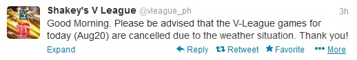 [Kalongkong Hiker] V-League Games August 20, 2013 is Cancelled