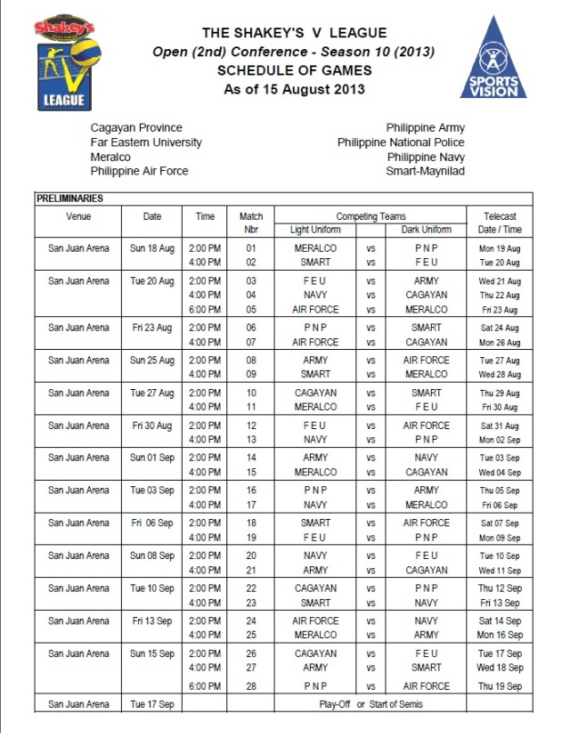 Schedule of Games As of 15 August 2013