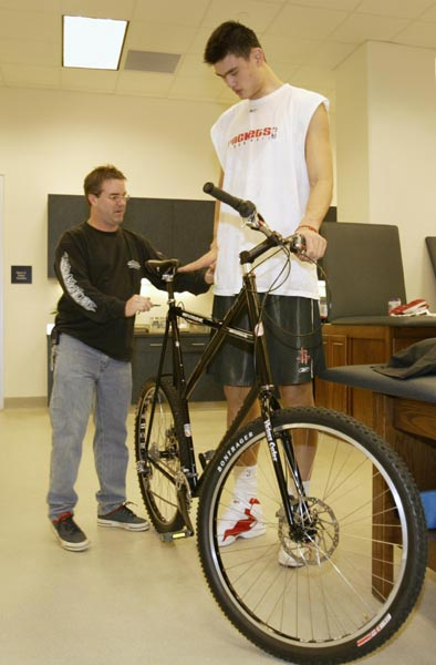 Yao Ming on Bike
