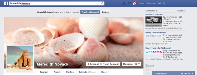 Meredith Novack Adds me on FB