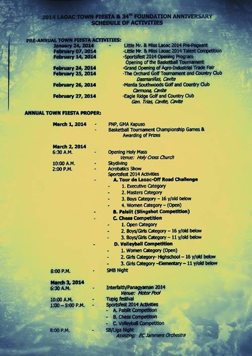Laoac Town Fiesta 2014 Calendar of Events