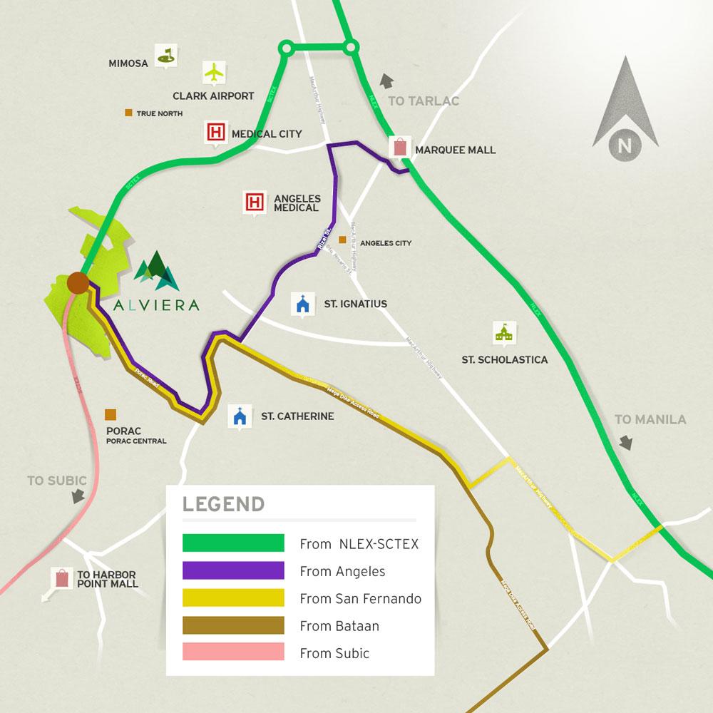 Route Map Courtesy Of Alviera Website Kalongkong Hiker - Porac map