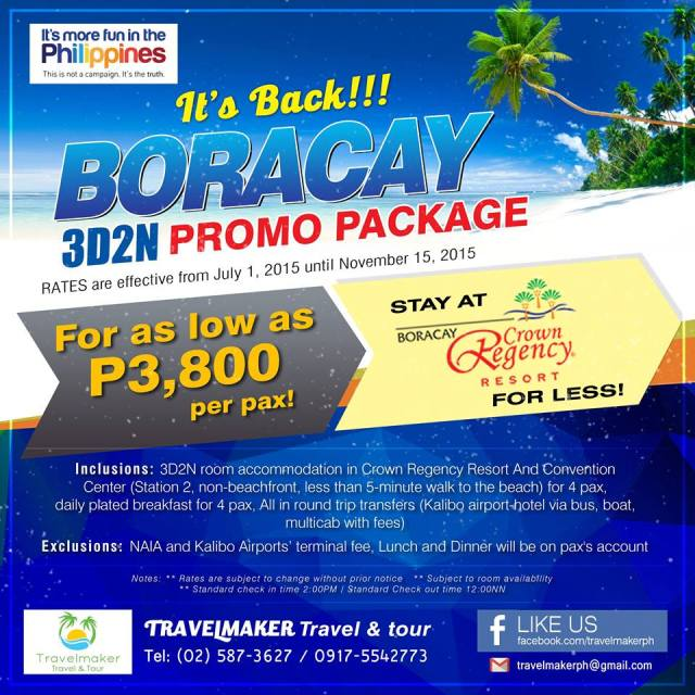 Boracay 3D2N Travelmaker Tours and Travel PH - Kalongkong Hiker