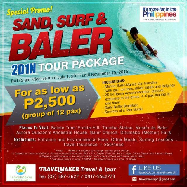 Sand, Surf and Baler 2D1N Travelmaker Tours and Travel PH - Kalongkong Hiker